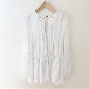 Free people white boho blouse sz M